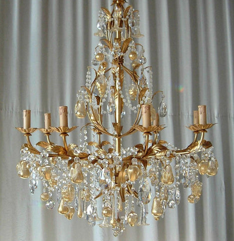 Venetian 8 light gold & white fruit chandelier