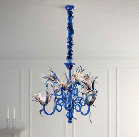 Feather-trimmed Italian glass chandelier in 4 colours