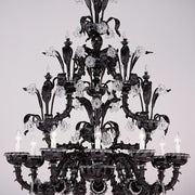 Black Murano glass and crystal chandelier