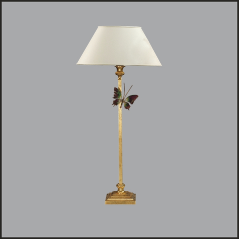 Column table lamp with butterfly
