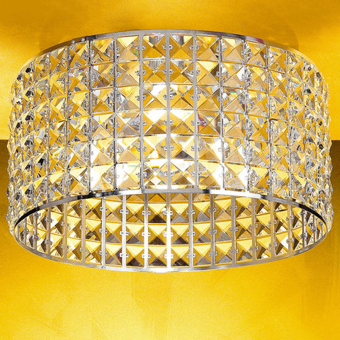 Circular chrome light fitting with Swarovski Strass crystals