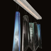 Murano glass shard chandelier in 3 blue custom shades
