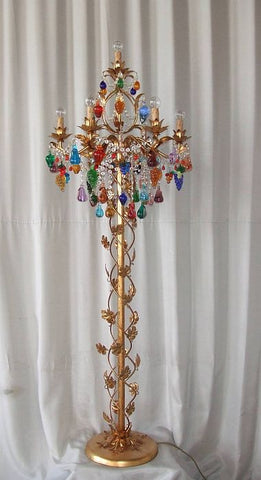 Floor lamp with multicoloured Murano glass fruits