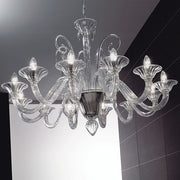 12 Light handblown Italian glass chandelier