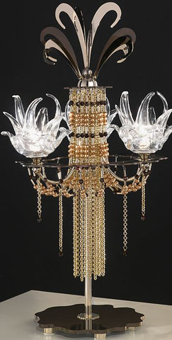 Exotic gold and mocha Swarovski and Murano glass table light