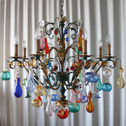 Murano glass fruit chandelier with 8 lights & green metal frame