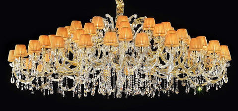 Large 60 light crystal chandelier with organza shades
