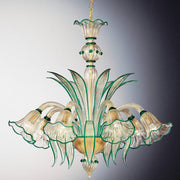 Emerald green Murano chandelier