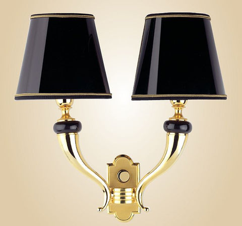 Black marble and gold plate wall light with black shades