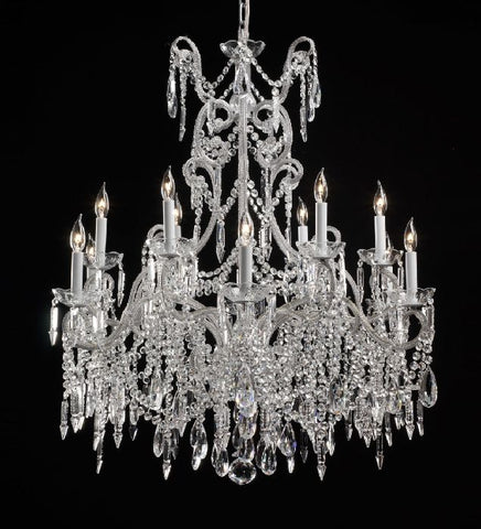 12 Light Silver Chandelier with Bohemian Crystals