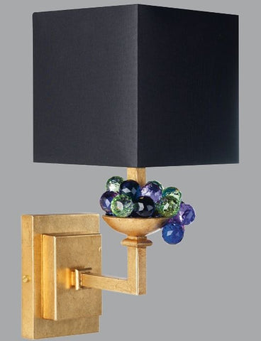Gold Metal Light with Swarovski Elements Crystals & Silk Shade