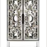Elegant and ornate Venetian mirrored glass cabinet
