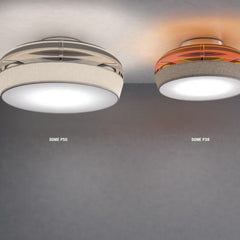Grey or orange Murano glass and fabric flush light