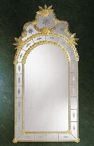 Classic Venetian archtop wall mirror with glass flowers