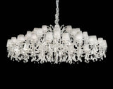 60 Light Chandelier with White Organza Shades