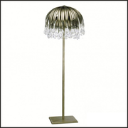 Silver floor lamp with glass crystals