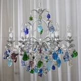 Murano glass chandelier with blue, green, and crystal fruits