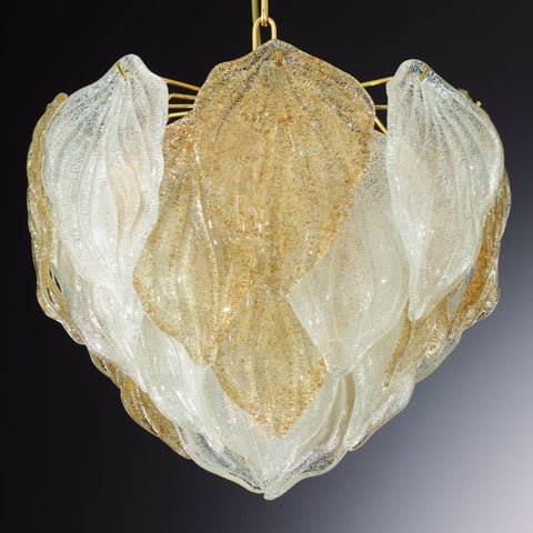 Amber or clear Venetian piastra glass pendant light
