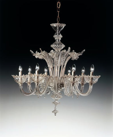 Ornate clear Murano glass chandelier in 6 sizes