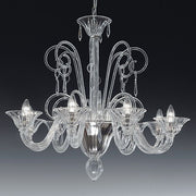8 arm Venetian-style clear glass Italian chandelier