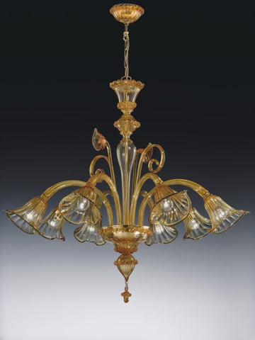 Crystal and gold leaf eight light Venetian style chandelier