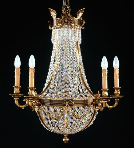 6 Light Empire Style Crystal Glass Chandelier