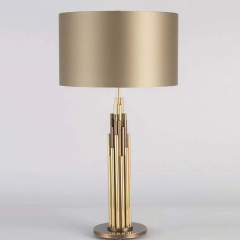 Modern high end brass table lamp with sage green shade