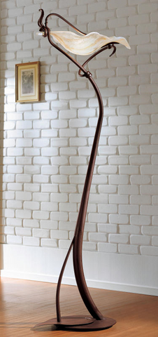 Iron floor light from Italy with ivory-white glass leaf shades