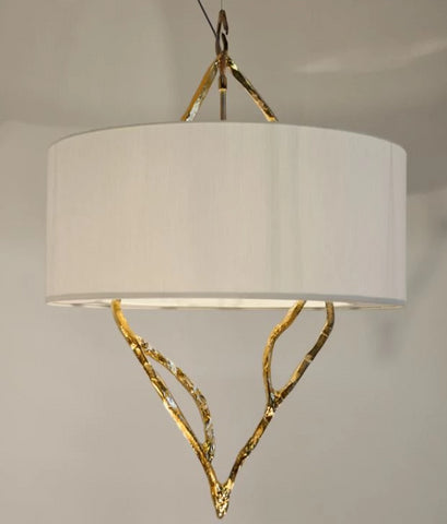 Modern Ceiling Pendant with Gold Forged Sculpture and Lamp Shade