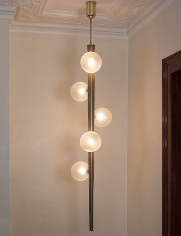 Statement Wooden Ceiling Light with Glass Globes