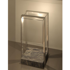 Frosted glass encased with metal frame and marble base by Ledevò