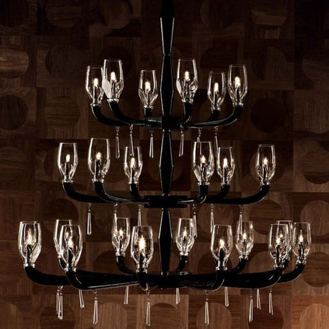1970s-style black and clear Murano glass chandelier