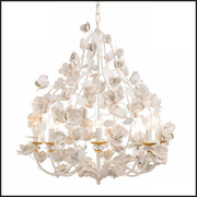 Eight Lamp White Metal Chandelier with Roses