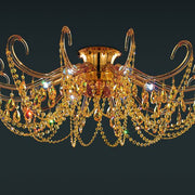 Metre-wide ceiling light with amber, jet or clear crystals