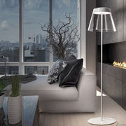 Italian designer floor lamp with clear glass shade