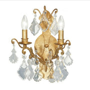 Gold Metal with Glass Crystals Wall Light