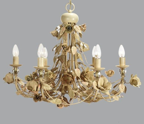 6 Lamp Gold Metal Chandelier with Roses & Swarovski Elements