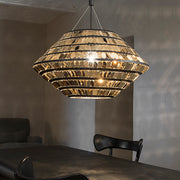 The glamorous Kika modern metal pendant from Terzani in white, black and gold.