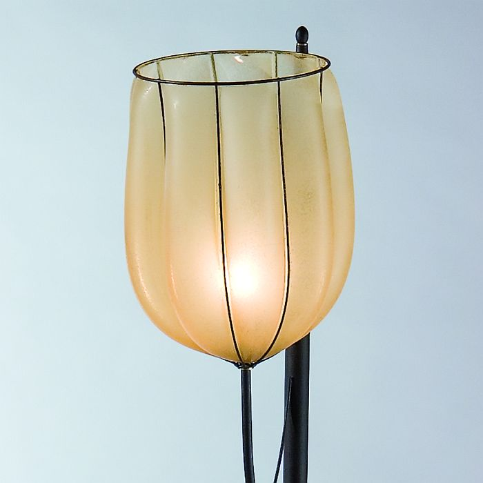 Amber Murano glass or alabaster floor lantern