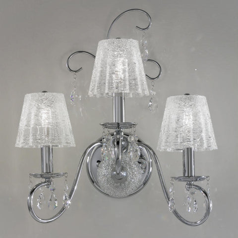 Swarovski crystal wall chandelier with glass shades in 3 colours