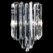 Lead crystal prism wall lamp with clear & coloured Murano option
