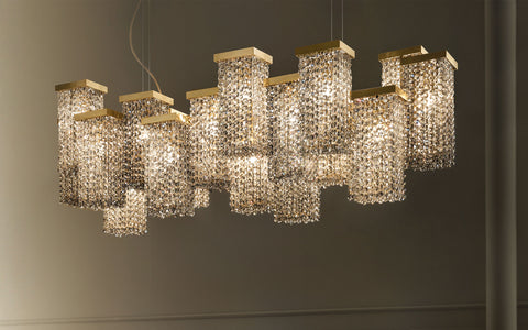 20 light modern chandelier with smoky crystal or Swarovski Elements
