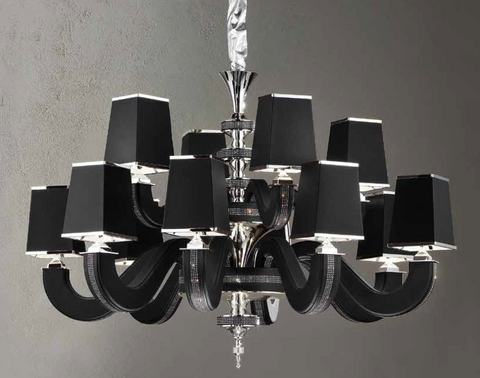 Modern 12 light Italian chandelier with black, red, white, or tobacco coloured eco-leather