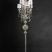 Ornate classic silver-or gold plated Italian floor lamp with shades and Swarovski crystals