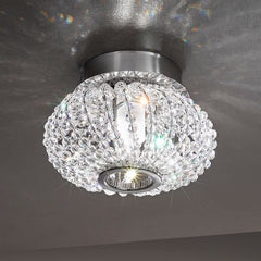 Austrian crystal & gold flush fitting ceiling light
