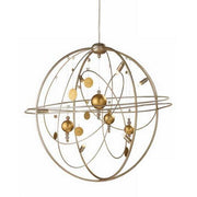Metal Solar System Chandelier in Silver with Gold Planets