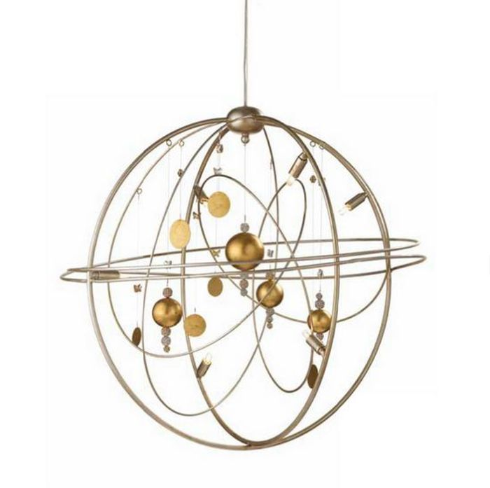 Metal Solar System Chandelier in Silver with Gold Planets [199211]