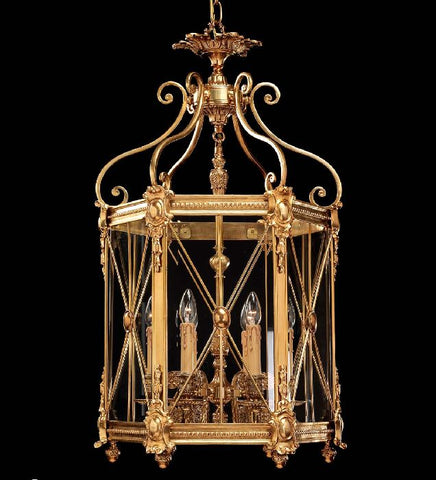 6 Light Brass Lantern