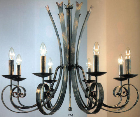 8 light wrought iron chandelier