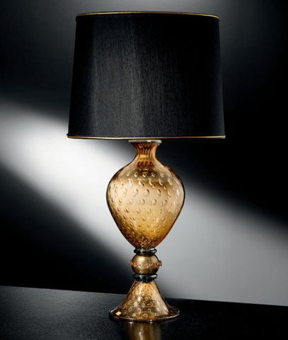 Amber Venetian glass table lamp with black shade